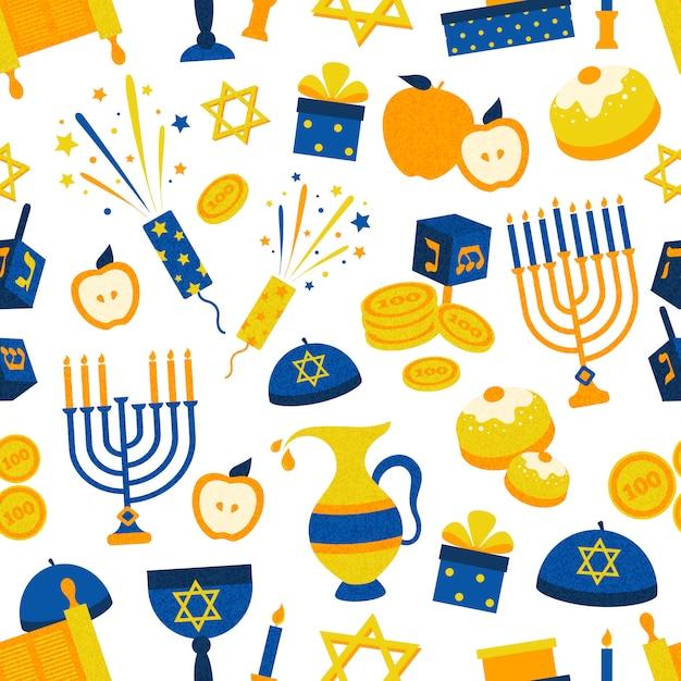 Modello senza cuciture con i simboli di hanukkah Vettore gratuito