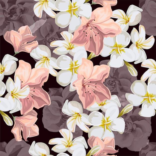 Modello senza cuciture con illustrazione vettoriale fiore tropicale Vettore Premium