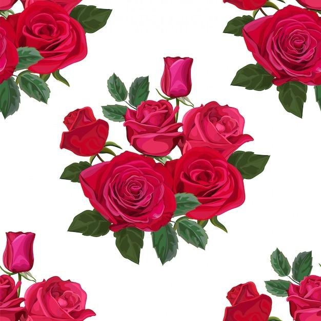 Modello senza cuciture con l'illustrazione di vettore del fiore di rosa Vettore Premium