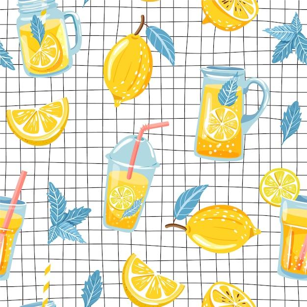 Modello senza cuciture con limone e limonata. Vettore Premium