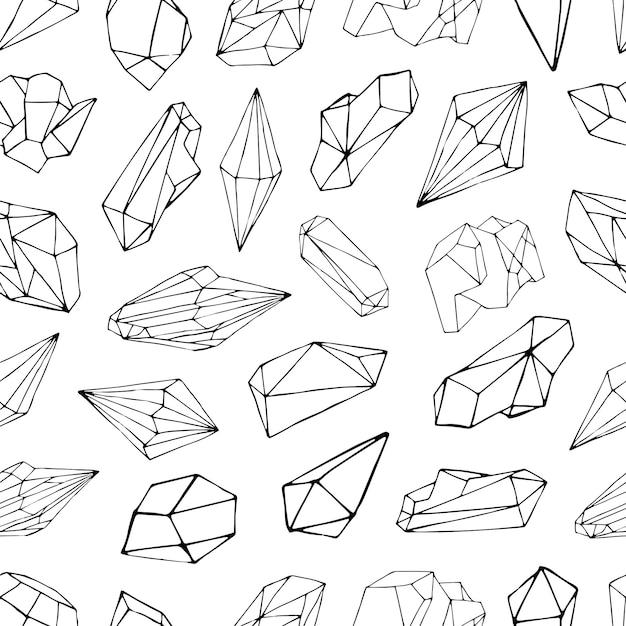 Modello senza cuciture con minerali, cristalli, gemme. contorno disegnato a mano. Vettore Premium