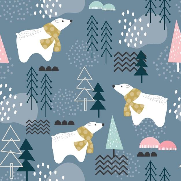 Modello senza cuciture con orso polare, elementi della foresta e forme disegnate a mano Vettore Premium