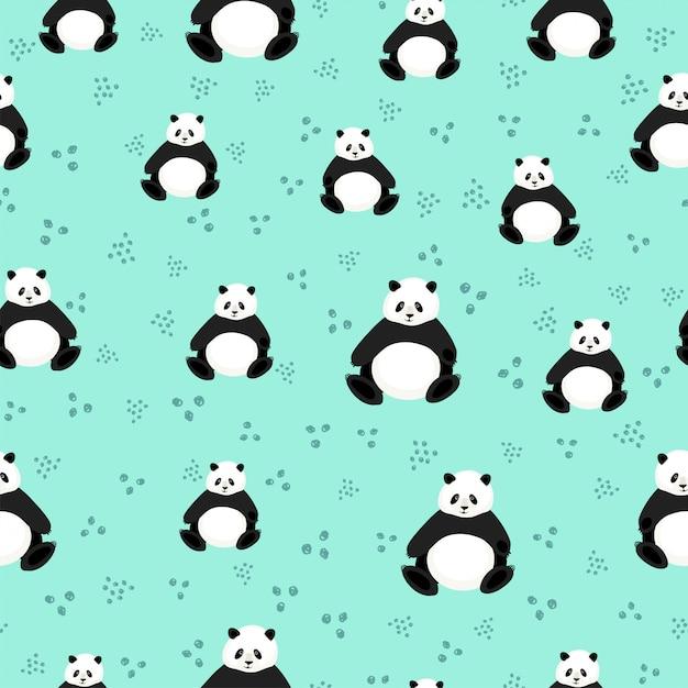 Modello senza cuciture con panda carino Vettore Premium
