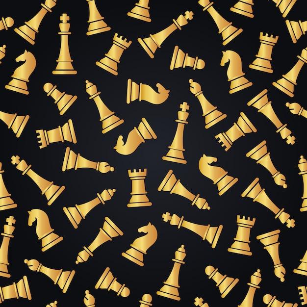 Modello senza cuciture con pezzi degli scacchi Vettore Premium