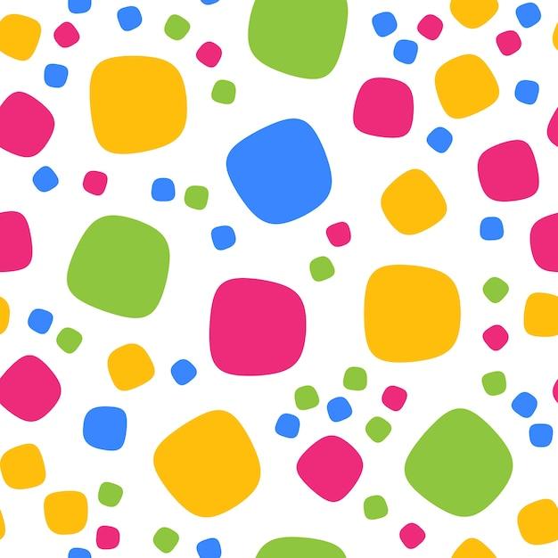 Modello senza cuciture con quadrati colorati e punti. vector ripetendo la trama. Vettore Premium
