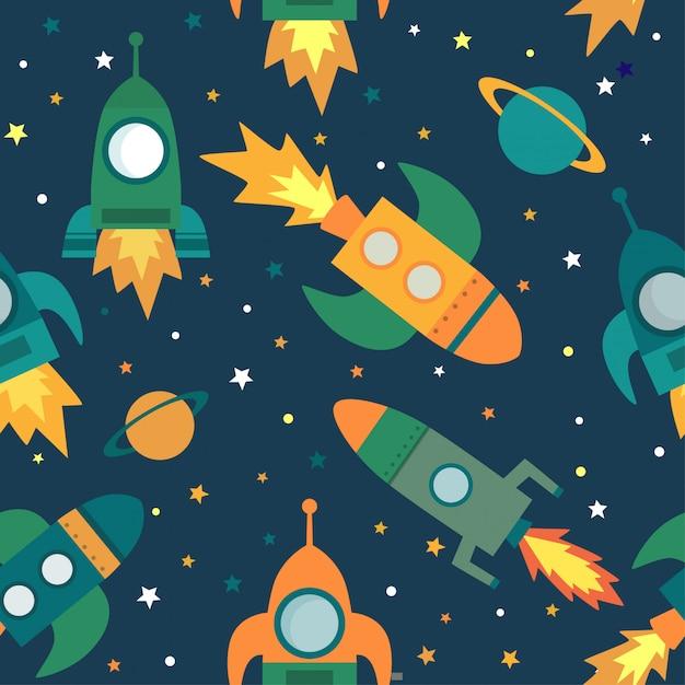 Modello senza cuciture con razzi, pianeti, stelle nello spazio. Vettore Premium