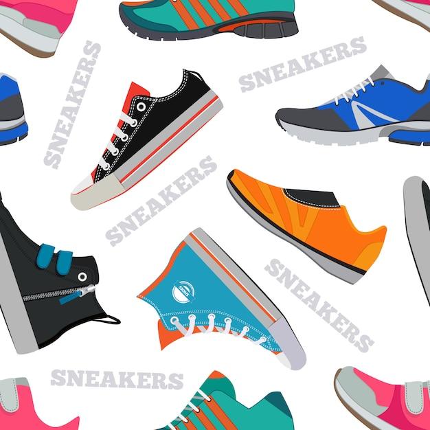 Modello senza cuciture con scarpe da ginnastica e da passeggio. immagini vettoriali in stile piatto. fondo dell'illustrazione delle scarpe delle calzature di colore Vettore Premium