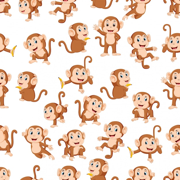 Modello senza cuciture con scimmia con la diversa posa Vettore Premium