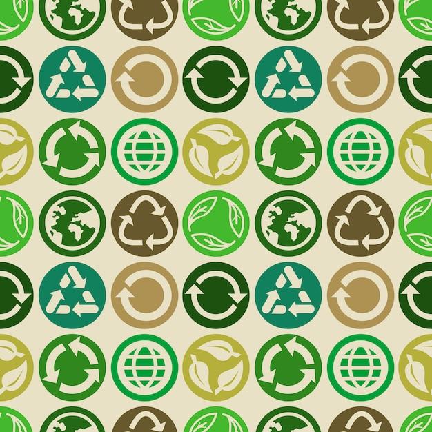 Modello senza cuciture con segni e icone di ecologia Vettore Premium
