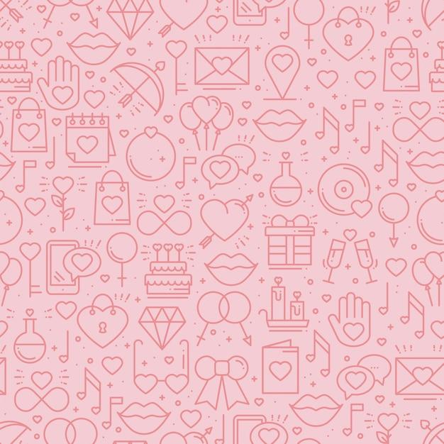 Modello senza cuciture con simboli di amore Vettore Premium