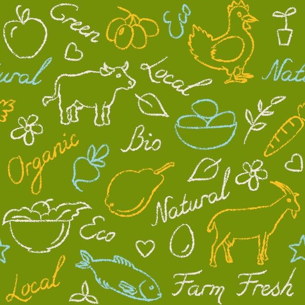 Modello senza cuciture con simboli di cibo di fattoria Vettore Premium