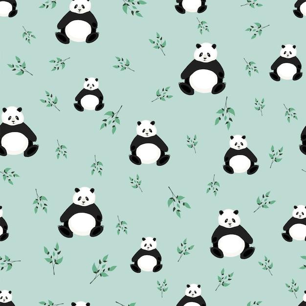 Modello senza cuciture con simpatici panda. modello con orso per tessuto, tessuto, carta da parati, carta da imballaggio Vettore Premium