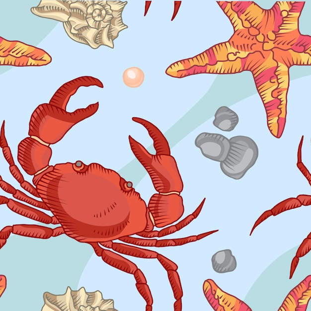 Modello senza cuciture con stella marina e granchio. sfondo marittimo Vettore gratuito