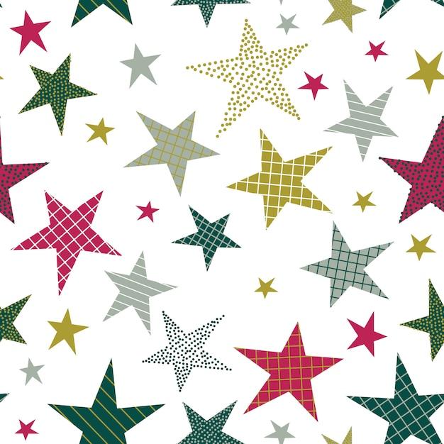 Modello senza cuciture con stelle decorative Vettore Premium