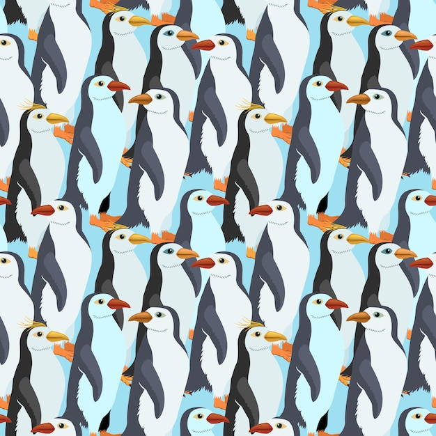 Modello senza cuciture con un pinguino molti imperatore Vettore Premium