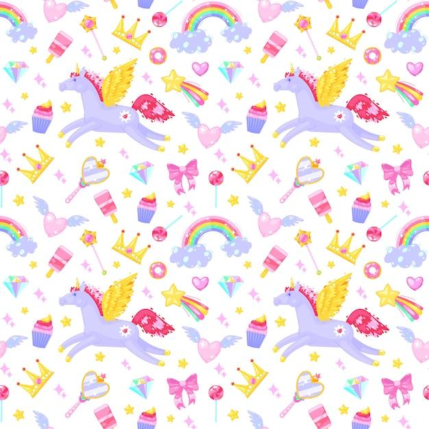 Modello senza cuciture con unicorni, cuori, vestiti, caramelle, nuvole, arcobaleni e altri elementi su sfondo bianco. Vettore Premium