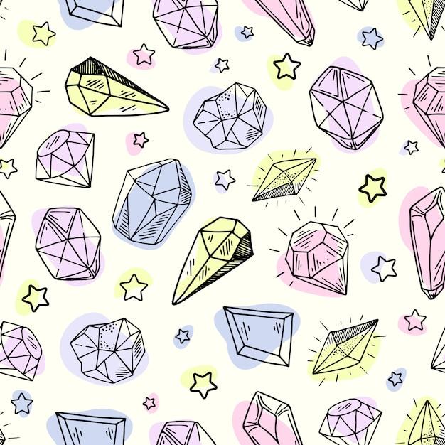 Modello senza cuciture - cristalli o gemme, trama infinita con pietre preziose, diamanti, disegnati a mano Vettore Premium