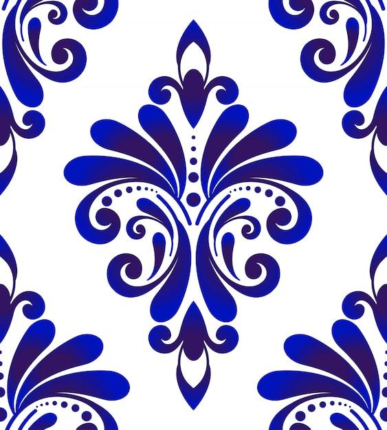 Modello senza cuciture damascato blu e bianco Vettore Premium