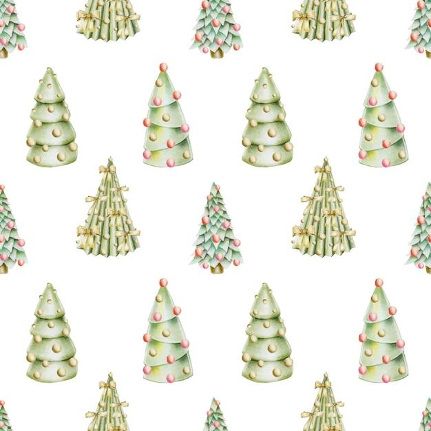 Modello senza cuciture degli alberi di natale disegnati a mano con decorazioni Vettore Premium