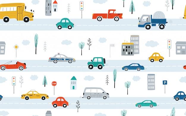 Modello senza cuciture dei bambini svegli con le automobili, i semafori e i segnali stradali su un fondo bianco. illustrazione della strada principale in stile cartone animato. Vettore Premium