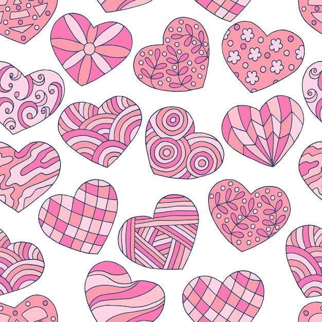 Modello senza cuciture dei cuori rosa disegnati a mano astratti per il san valentino Vettore Premium