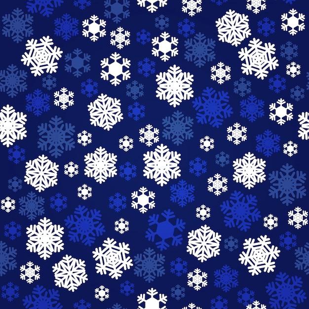 Modello senza cuciture dei fiocchi di neve bianchi e blu navy Vettore Premium