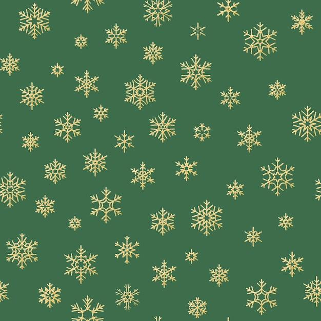 Modello senza cuciture dei fiocchi di neve dorati di buon natale e felice anno nuovo inverno. Vettore Premium