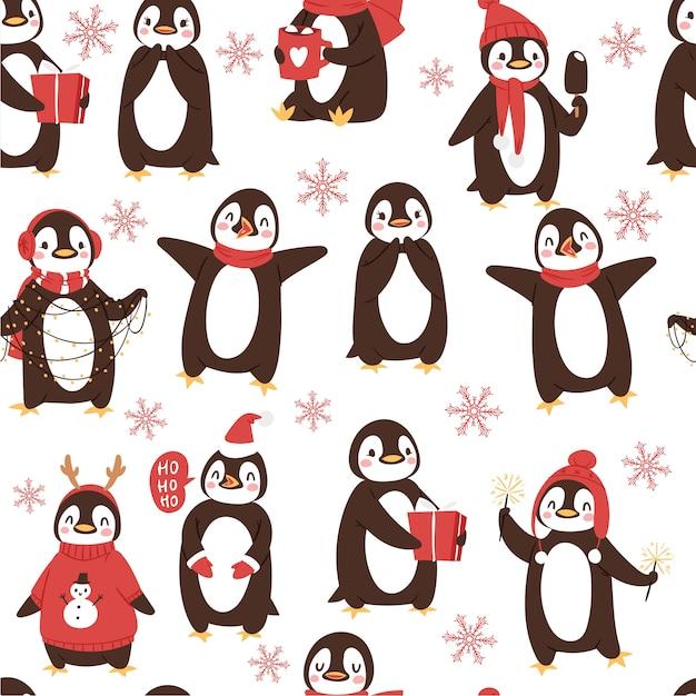 Modello senza cuciture dei pinguini svegli con gli uccelli artici di natale e di vacanze invernali del fumetto Vettore Premium