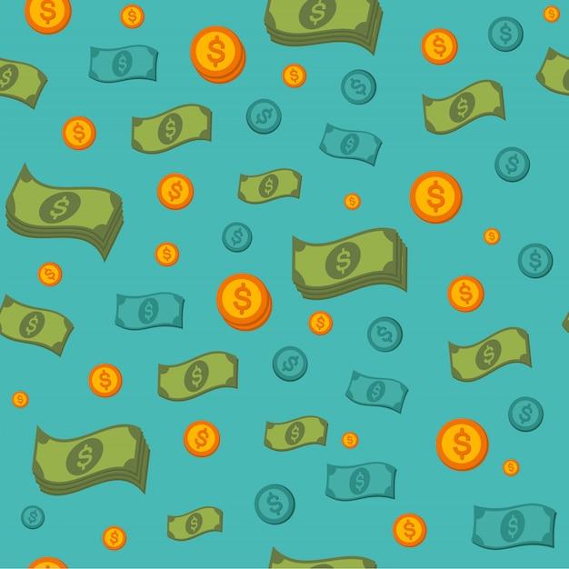 Modello senza cuciture dei soldi con monete e banconote Vettore Premium