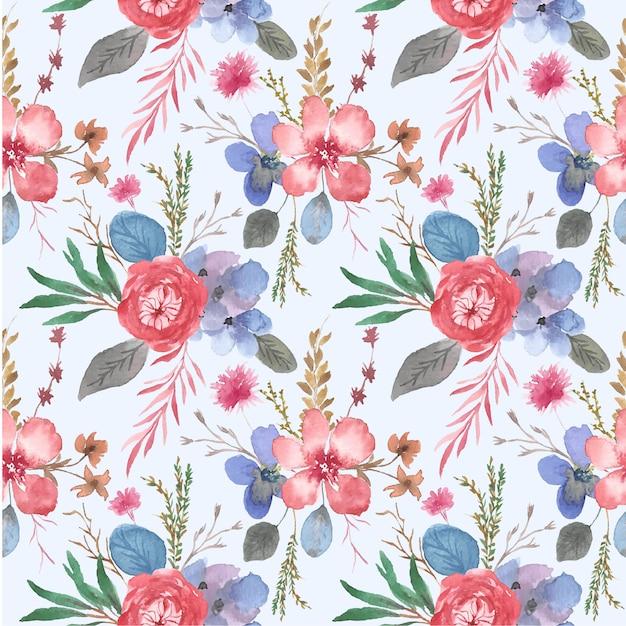 Modello senza cuciture del bello giardino floreale dell'acquerello Vettore Premium