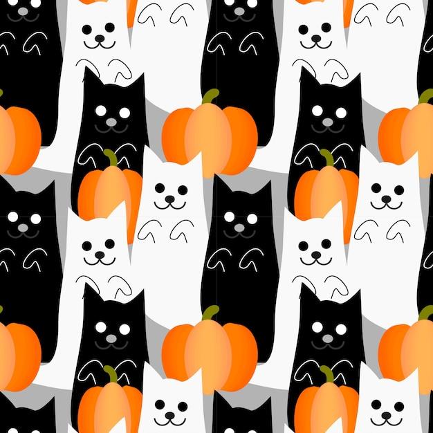 Modello senza cuciture del fantasma sveglio del gatto di halloween. Vettore Premium