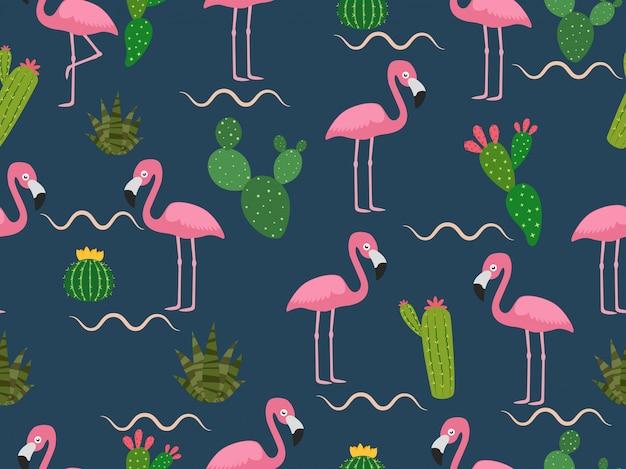 Modello senza cuciture del fenicottero rosa con cactus tropicale Vettore Premium