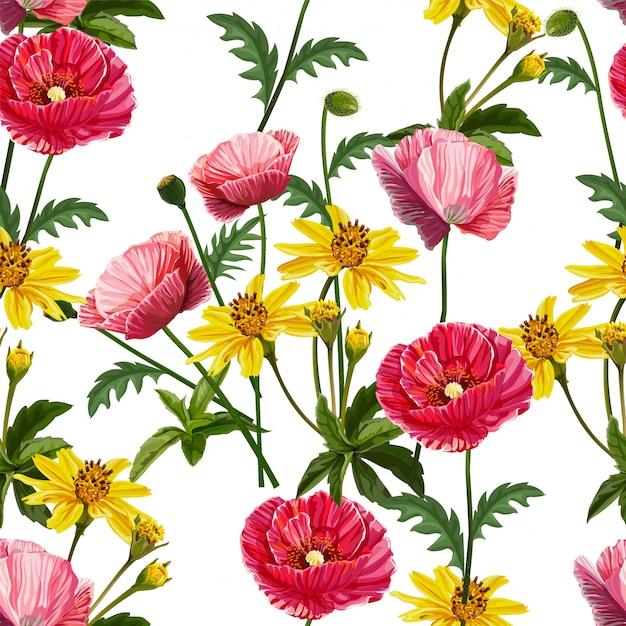 Modello senza cuciture del fiore del papavero Vettore Premium
