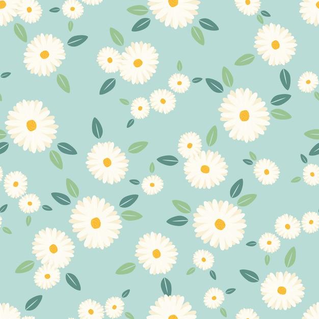 Modello senza cuciture del fiore sveglio della margherita bianca su fondo blu Vettore Premium