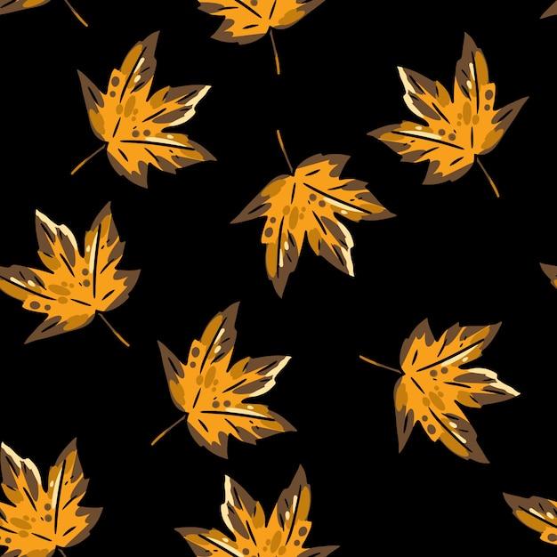 Modello senza cuciture del fumetto sveglio delle foglie di acero di autunno. Vettore Premium