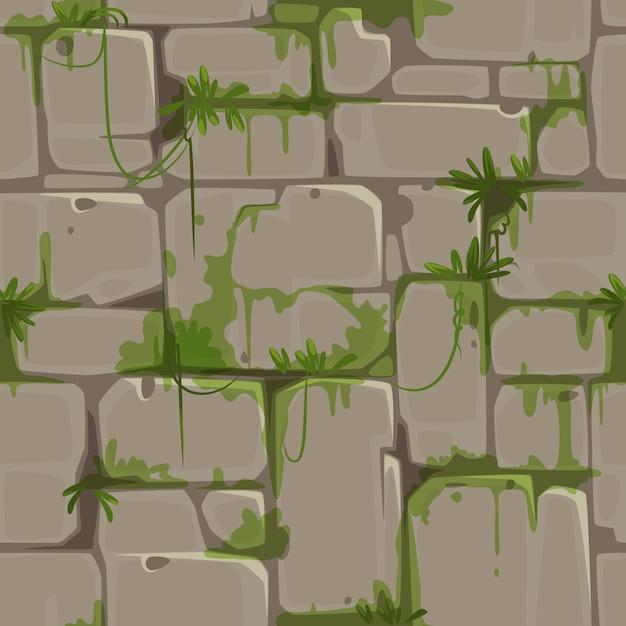 Modello senza cuciture del muro di mattoni per il vettore di tema della giungla Vettore Premium