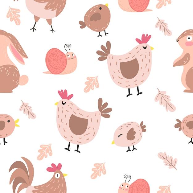 Modello senza cuciture del pollo adorabile del fumetto Vettore Premium