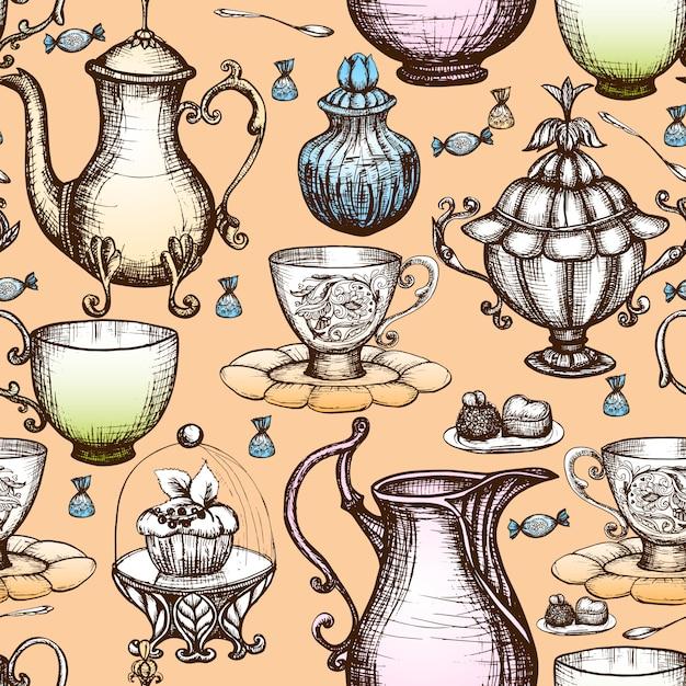 Modello senza cuciture del tè d'annata Vettore gratuito