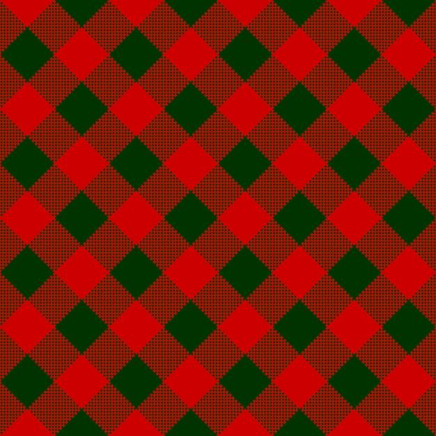 Modello senza cuciture del tessuto diagonale del controllo verde rosso Vettore Premium