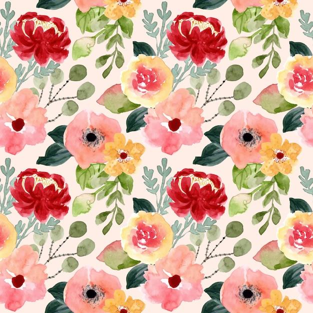 Modello senza cuciture dell'acquerello del fiore del fiore Vettore Premium
