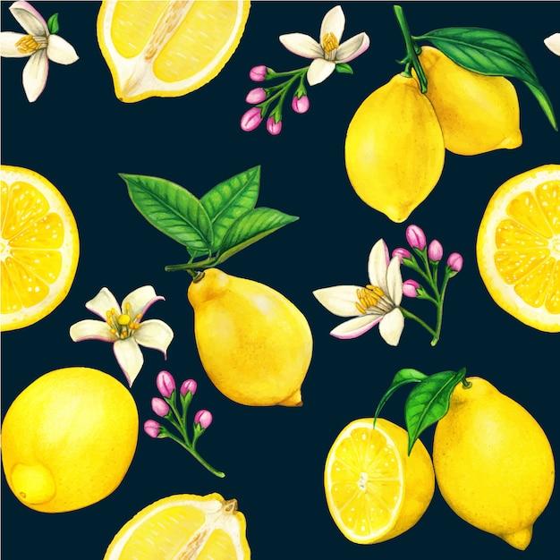 Modello senza cuciture dell'acquerello limone di alta qualità con frutti e fiori Vettore Premium
