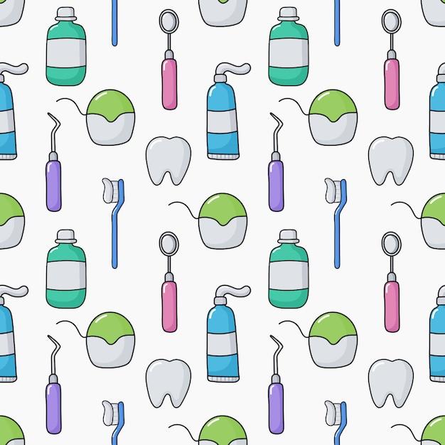 Modello senza cuciture dell'attrezzatura divertente sveglio del dentista su bianco Vettore Premium