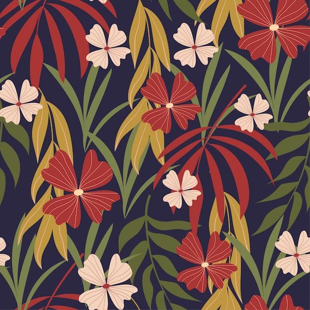 Modello senza cuciture dell'estratto di tendenza di estate con le foglie tropicali Vettore Premium