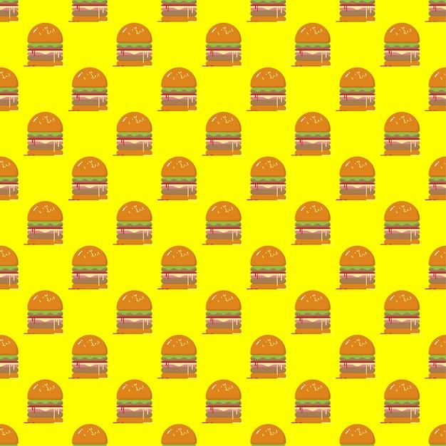 Modello senza cuciture dell'hamburger su fondo giallo modello senza cuciture di vettore dell'alimento veloce. Vettore Premium