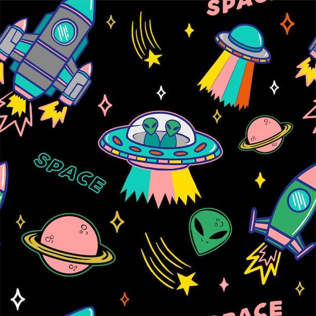 Modello senza cuciture dell'insieme variopinto del fumetto con il pianeta e le stelle dell'astronave degli stranieri degli ufo su fondo scuro. Vettore Premium