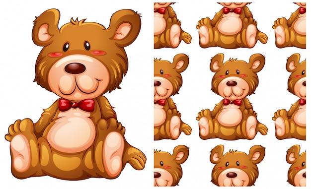 Modello senza cuciture dell'orsacchiotto isolato su bianco Vettore gratuito