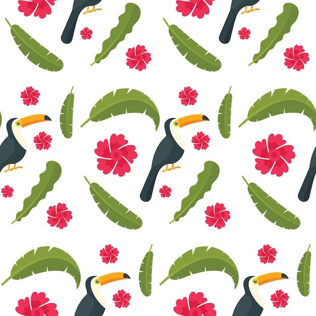 Modello senza cuciture dell'uccello del pappagallo del tucano Vettore Premium