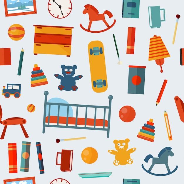 Modello senza cuciture della camera da letto dei bambini con i giocattoli Vettore Premium