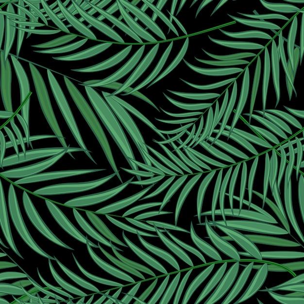 Modello senza cuciture della siluetta della foglia della palma di beautifil Vettore Premium