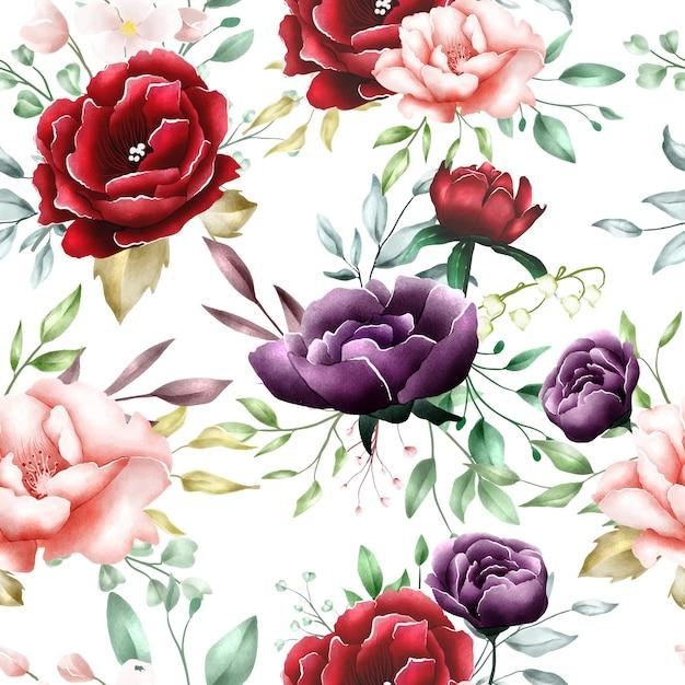 Modello senza cuciture delle foglie floreali dell'acquerello Vettore Premium